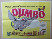 Dumbo, RARE Orig UK Quad, Disney, Wonderful artwork of the Circus Elephant, r60s